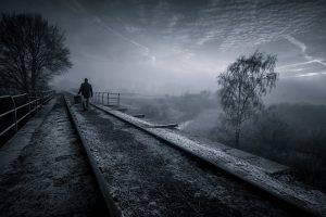 nature, Landscape, Railway, Trees, Mist, Sunrise, Walking, Dark, Clouds