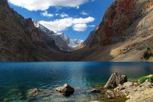 nature, Landscape, Lake, Mountain, Snow, Clouds, Blue, Water, Tajikistan