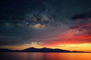 Corsica, Abstract, Space, Water, Sea, Sunset
