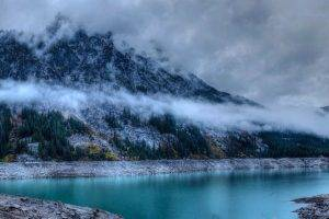 landscape, Nature, Winter, Lake, Forest, Mountain, Clouds, Trees, Snow, Water