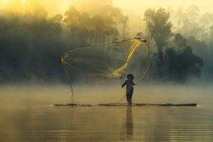 nature, Landscape, Sunrise, Mist, Forest, Fisherman, Fishing Nets, River, Trees, Boat