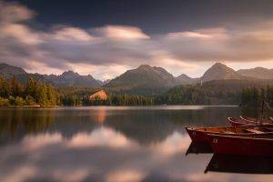 nature, Landscape, Mountain, Sunset, Lake, Forest, Boat, Calm, Clouds, Slovakia, Hotels