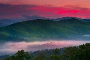 nature, Landscape, Spring, Sunrise, Mist, Valley, Mountain, Forest, Red, Sky, Trees, Clouds