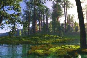 nature, Landscape, Trees, River, Grass, Green, Calm, Sunlight