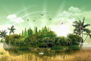 digital Art, Nature, Landscape, Grass, Island, Water, Trees, Forest, Palm Trees, Birds, Swans, Clouds, Reflection, Light Trails