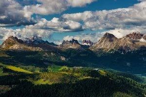 nature, Landscape, Alps, Mountain, Dolomites (mountains), Italy, Forest, Clouds