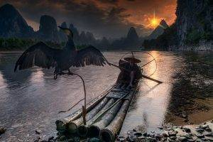 nature, Landscape, Fisherman, Cormorant, River, Guilin, China, Mountain, Sunset, Forest, Sky, Clouds, Boat, Birds