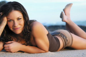 beach, Women, Brunette, Green Eyes, Smiling, Hands In Hair, Lying On Front, Looking At Viewer, Evangeline Lilly, Women Outdoors