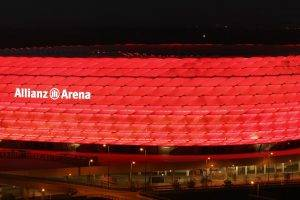 Allianz Arena, Stadium, Night, Lights, FC Bayern, Soccer, Dual Monitors, Multiple Display
