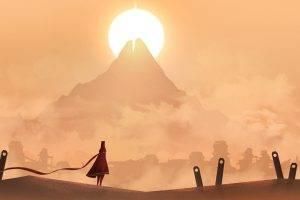 Journey (game), Vectors, Landscape, Mountain, Sun