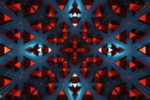 digital Art, Abstract, CGI, Render, Geometry, Symmetry, Triangle, Mirrored, Lines