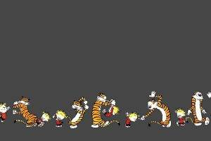 Calvin And Hobbes, Comics, Minimalism, Dual Monitors, Multiple Display, Dancing