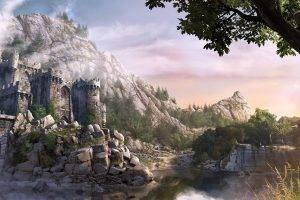 castle, Fantasy Art, Rock, Bridge, Forest
