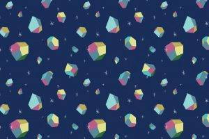 digital Art, Minimalism, Texture, Simple, Simple Background, 3D, 3d Object, Colorful, Stars, Blue Background, Abstract