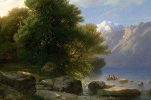 painting, Boat, Rock, Trees, River, Classic Art