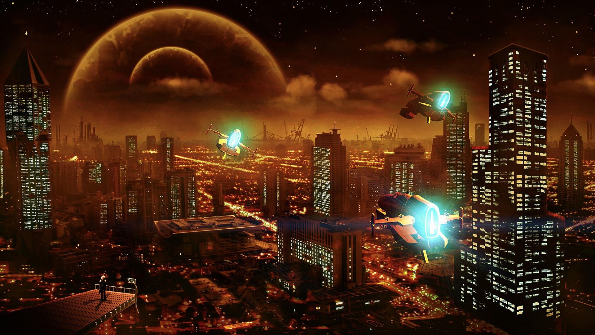 Night Wallpaper No Logo By Ualgreymon On Deviantart: Artwork, Futuristic, Spaceship, City, Digital Art, Sky