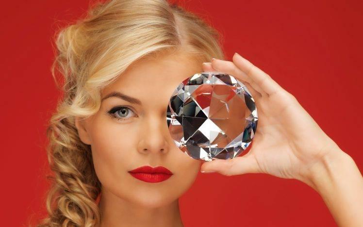 women, Face, Diamonds, Blonde, Blue Eyes, Red Background HD Wallpaper Desktop Background