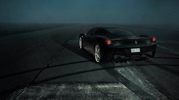 Ferrari 458, Car, Ferrari, Black, Night HD Wallpaper Desktop Background