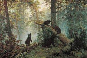 forest, Bears, Artwork, Animals