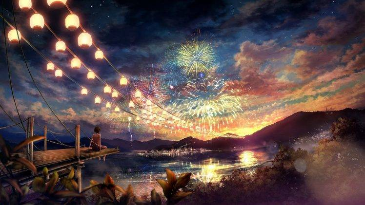 artwork, Concept Art, Women, Fireworks, Colorful, Lake Wallpapers ...