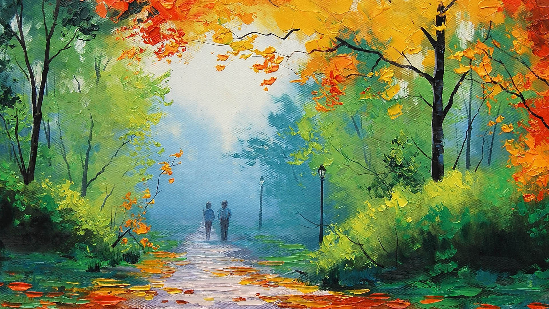 nature, Graham Gercken, Painting, Fall, Path Wallpapers HD ... Nature Painting Wallpaper Hd