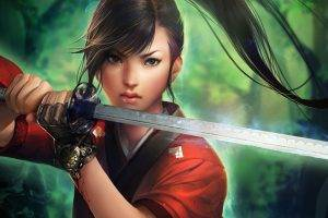 women, Sword, Fantasy Art