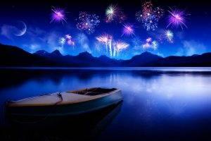 lake, Boat, Hill, New Year