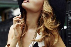 women, Model, Blonde, Funny Hats