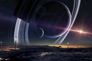 space, Planet, Spacescapes, Planetary Rings, Moon