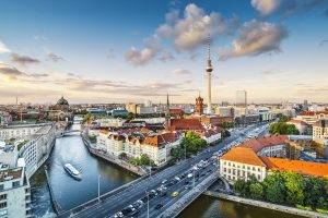 cityscape, Building, River, Bridge, Car, Boat, Berlin