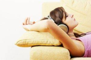 couch, White, Anime, Music, Headphones, Women, Closed Eyes, Philips, SHP 2500
