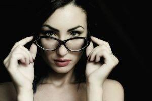 women, Black Background, Women With Glasses, Face, Portrait