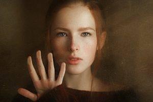 women, Georgiy Chernyadyev, Redhead, Blue Eyes, Face, Sweater, Hand