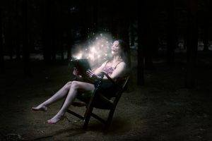 women, Model, Brunette, Long Hair, Sitting, Barefoot, Women Outdoors, Reading, Books, Dark, Trees, Forest, Legs, Bare Shoulders, Open Mouth, Glowing, Fairy Tale, Chair, Photo Manipulation, Magic