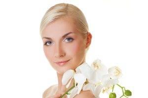stylized, Face, Model, Blonde, White, Flowers, Blue Eyes, White Background, Smirk