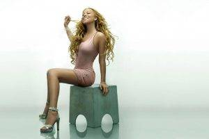 Mariah Carey, Blonde, Curly Hair, Dress, Legs, High Heels, Sitting