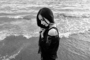 monochrome, Portrait, Women Outdoors, Brunette, Dark, Photography, Black Lipstick, Beach, Lace, Silhouette, Black, Shadow, Self Portraits