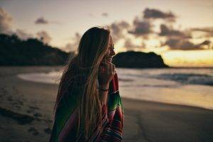 women, Blonde, Hair, Nature, Beach, Sand, Hill, Smiling, Sea, Sky