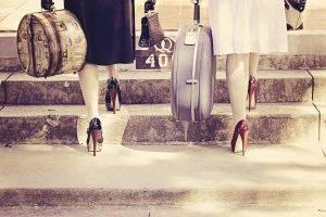 women, Suitcases, High Heels