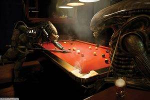 aliens, 3D, Predator (movie), Anime, Pool Table, Alien Vs. Predator, Bar, Billiards