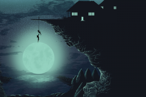 artwork, Moon, Cliff, House, Silhouette, Climbing, Stars, Lake