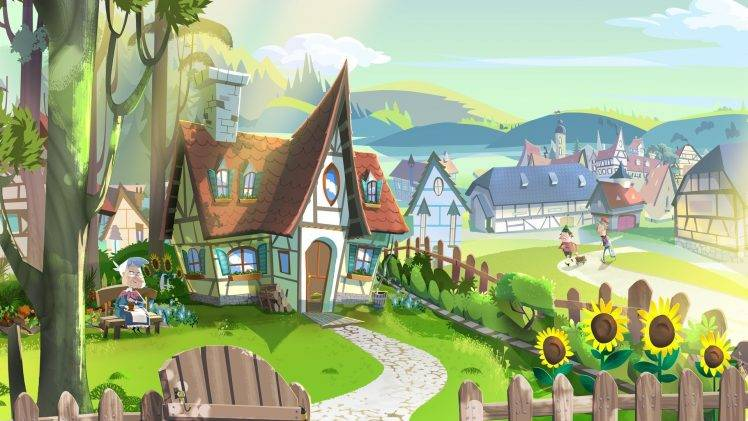 digital Art, Drawing, Illustration, Fairy Tale, House, Village, Fence, Path, Trees, Hill, Sunflowers, Old People, Clouds, Sunlight HD Wallpaper Desktop Background