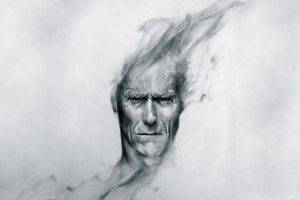 Clint Eastwood, Drawing, Monochrome, Movies, Pencils