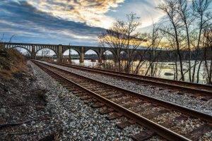 landscape, Bridge, Railway