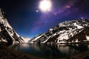 nature, Landscape, Lake, Mountain, Snow, Milky Way, Galaxy, Moon, Starry Night, Winter, Moonlight, Chile, Long Exposure