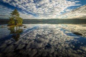 nature, Landscape, Trees, Water, Reflection, Forest, Clouds, Lake, Hill, Horizon, Rock, Island