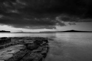 photography, Monochrome, Landscape, Nature, Water, Stones, Coast, Rangitoto