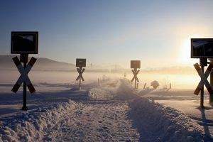 winter, Snow, Sun, Sky, Landscape, Nature