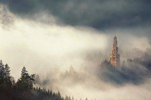 nature, Landscape, Mist, Morning, Sunlight, Forest, Tower, Italy