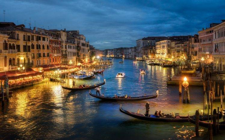 photography, Urban, Landscape, Architecture, Canal, Sea, Gondolas, Lights, Old Building, Evening, Venice, Italy HD Wallpaper Desktop Background